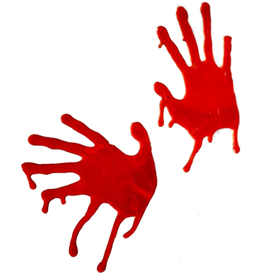 bloody Zombie hand prints for Halloween